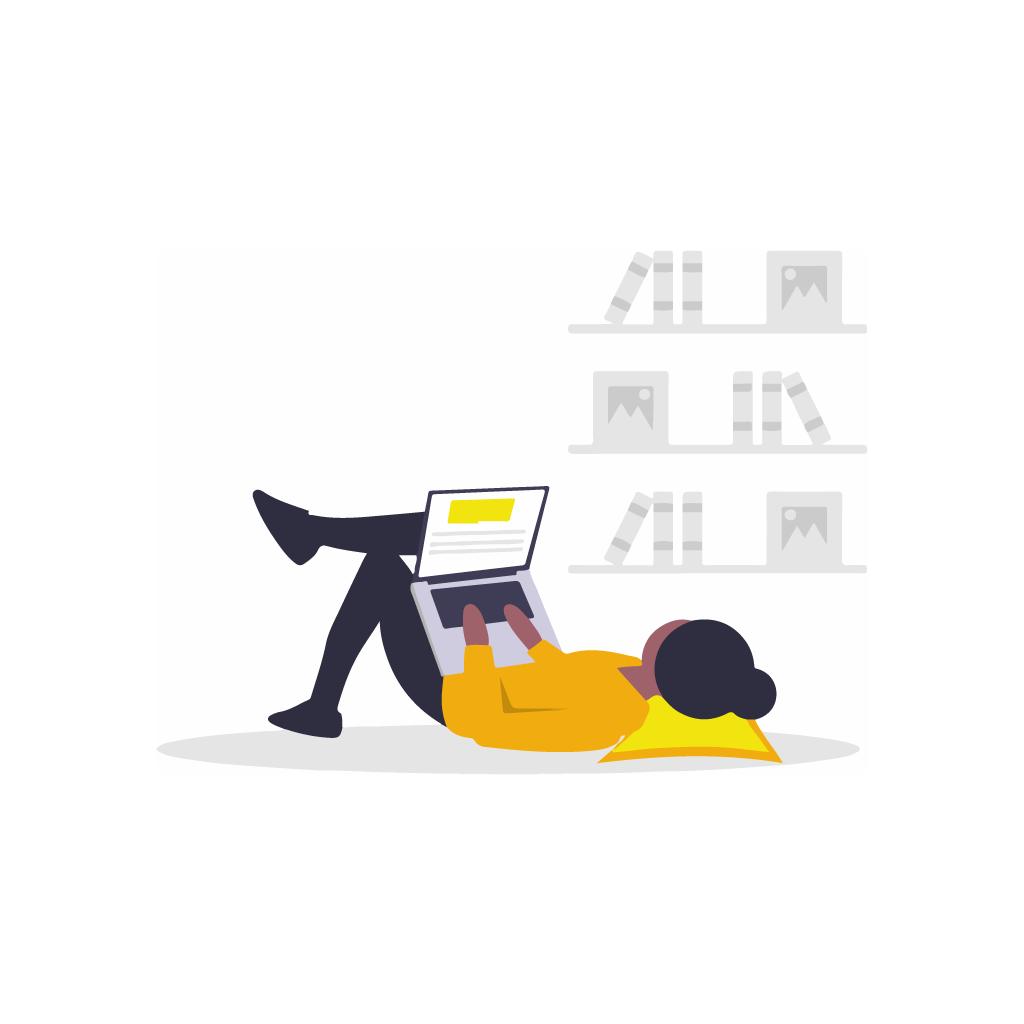 Illustration présentant un apprenant manipulant un ordinateur