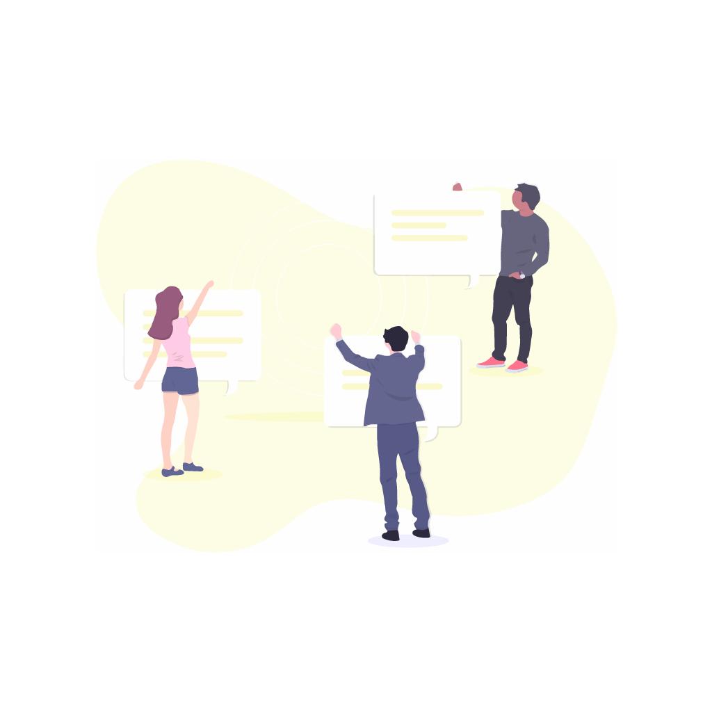 Illustration présentant des personnes échangeant des idées