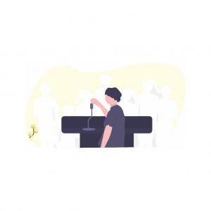 Illustration présentant un conférencier