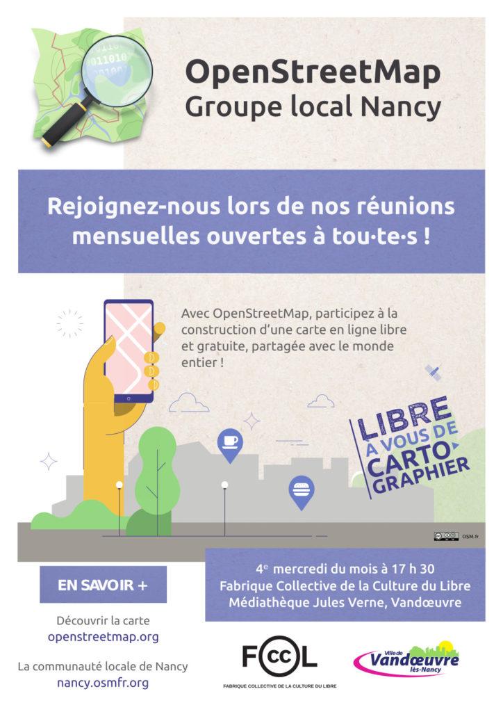 Affiche présentant les réunions mensuelles du groupe local OpenStreetMap Nancy