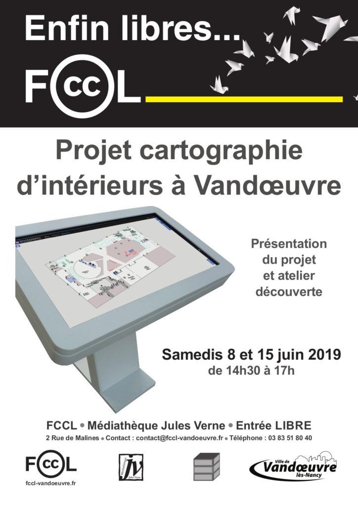 Affiche présentant un événement concernant le projet cartographique des intérieurs des batiments publics de Vandoœuvre.